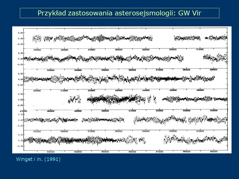 Przykład zastosowania asterosejsmologii: GW Vir Winget i in. (1991)