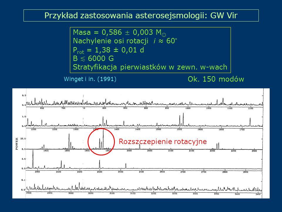 Przykład zastosowania asterosejsmologii: GW Vir Winget i in. (1991) Masa = 0,586 ± 0,003 M Nachylenie osi rotacji i 60° P rot = 1,38 ± 0,01 d B 6000 G