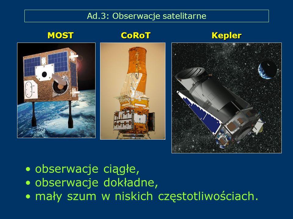 Ad.3: Obserwacje satelitarne obserwacje ciągłe, obserwacje dokładne, mały szum w niskich częstotliwościach. MOST CoRoT Kepler
