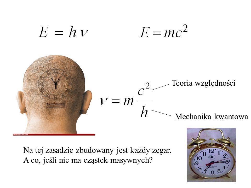 Teoria względności Mechanika kwantowa Na tej zasadzie zbudowany jest każdy zegar. A co, jeśli nie ma cząstek masywnych?