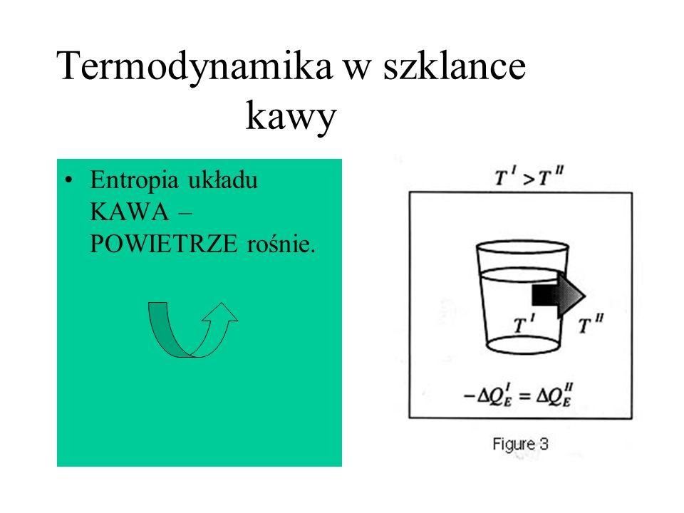 Termodynamika w szklance kawy Entropia układu KAWA – POWIETRZE rośnie.