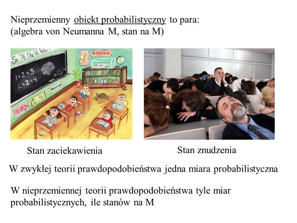 Nieprzemienny obiekt probabilistyczny to para: (algebra von Neumanna M, stan na M) Stan zaciekawienia Stan znudzenia W zwykłej teorii prawdopodobieńst