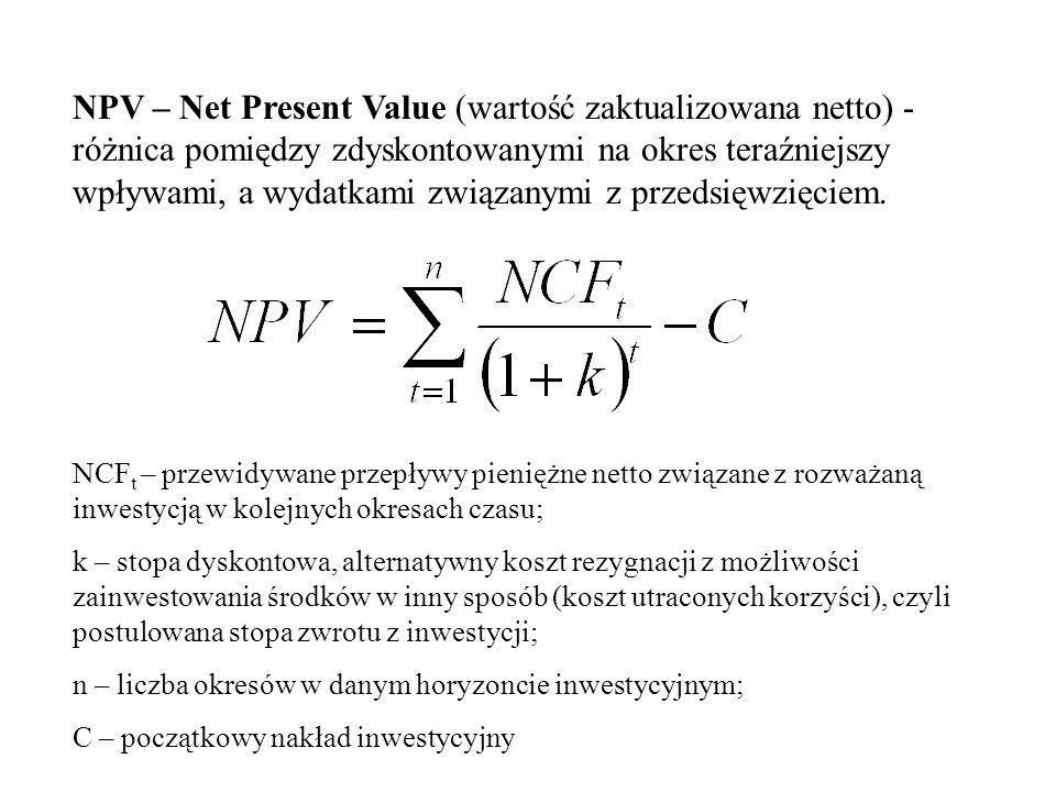 Najpopularniejsze miary oceny opłacalności inwestycji: NPV – wartość zaktualizowana netto IRR – wewnętrzna stopa zwrotu MIRR – zmodyfikowana wewnętrzn