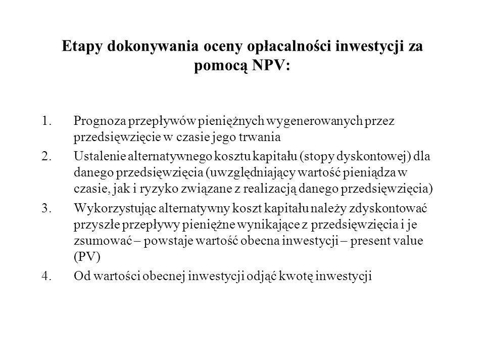 NPV – Net Present Value (wartość zaktualizowana netto) - różnica pomiędzy zdyskontowanymi na okres teraźniejszy wpływami, a wydatkami związanymi z prz