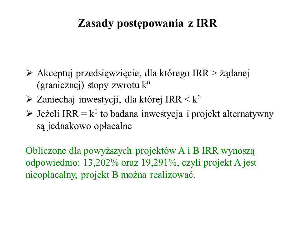 IRR – Internal Rate of Return (wewnętrzna stopa zwrotu) – to taka stopa dyskontowa, dla której NPV = 0, jest stopą dochodu z inwestycji, stopą, jaką n