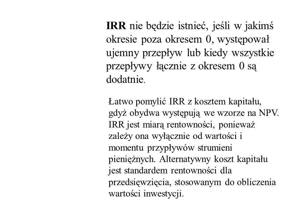 Zasady postępowania z IRR Akceptuj przedsięwzięcie, dla którego IRR > żądanej (granicznej) stopy zwrotu k 0 Zaniechaj inwestycji, dla której IRR < k 0