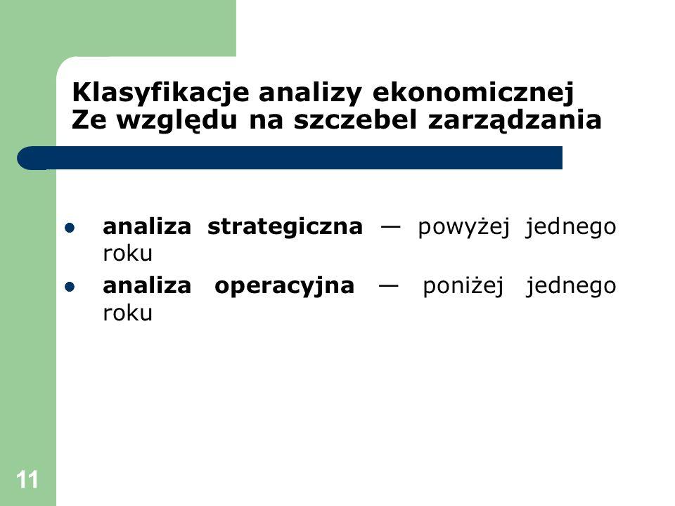 11 Klasyfikacje analizy ekonomicznej Ze względu na szczebel zarządzania analiza strategiczna powyżej jednego roku analiza operacyjna poniżej jednego r
