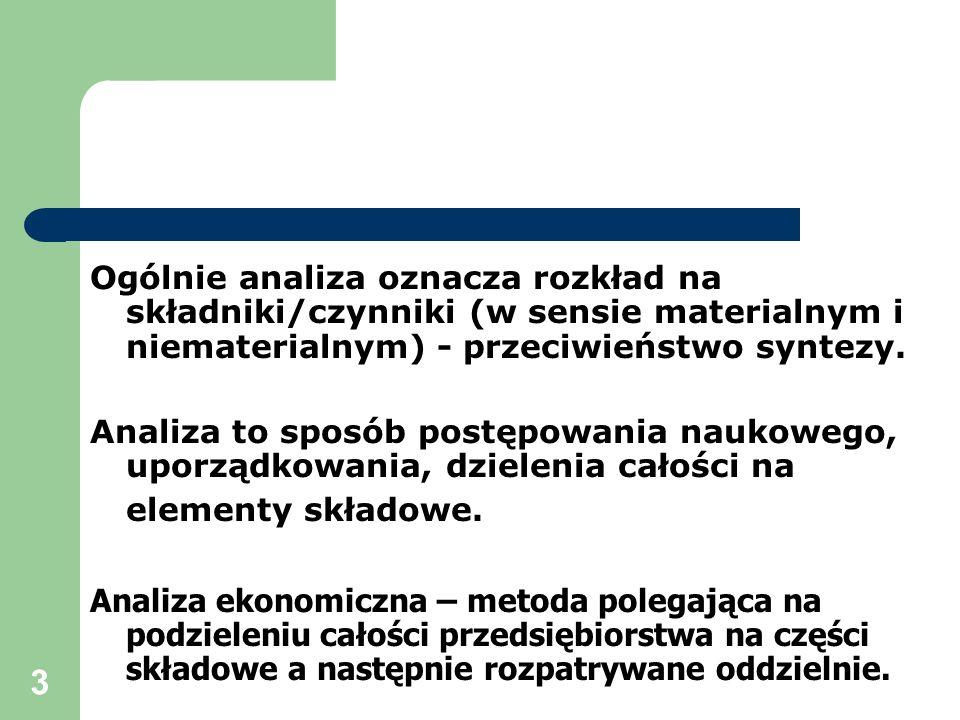 3 Ogólnie analiza oznacza rozkład na składniki/czynniki (w sensie materialnym i niematerialnym) - przeciwieństwo syntezy. Analiza to sposób postępowan