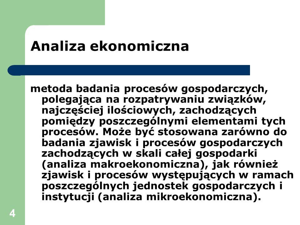 4 metoda badania procesów gospodarczych, polegająca na rozpatrywaniu związków, najczęściej ilościowych, zachodzących pomiędzy poszczególnymi elementam