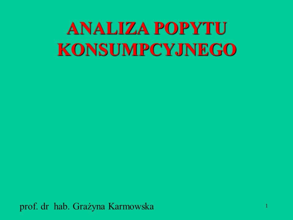 1 ANALIZA POPYTU KONSUMPCYJNEGO prof. dr hab. Grażyna Karmowska