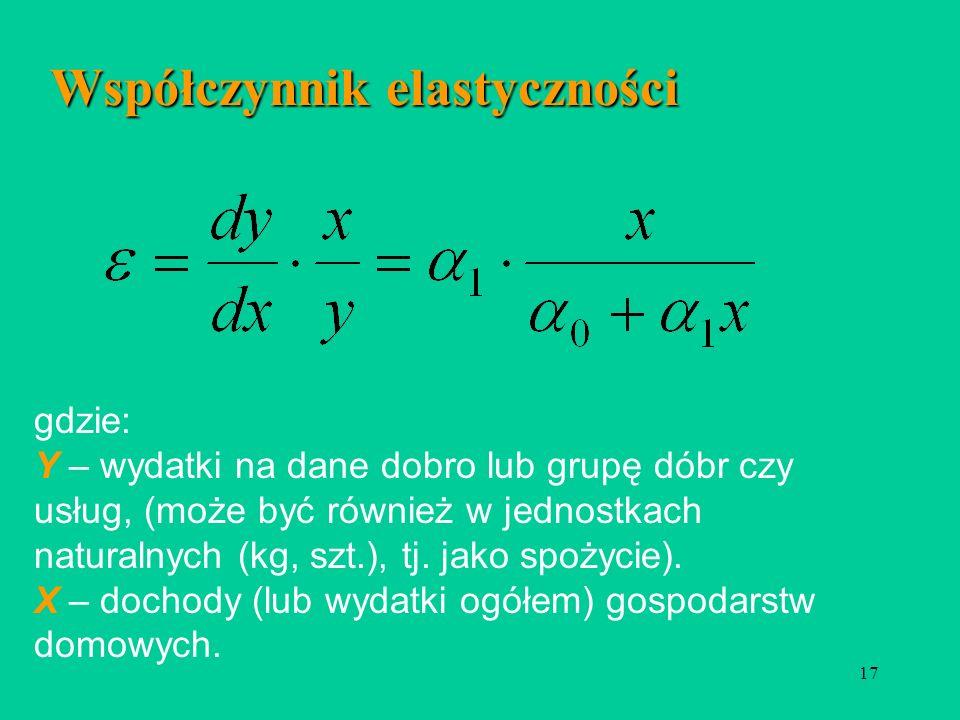 17 Współczynnik elastyczności gdzie: Y – wydatki na dane dobro lub grupę dóbr czy usług, (może być również w jednostkach naturalnych (kg, szt.), tj.