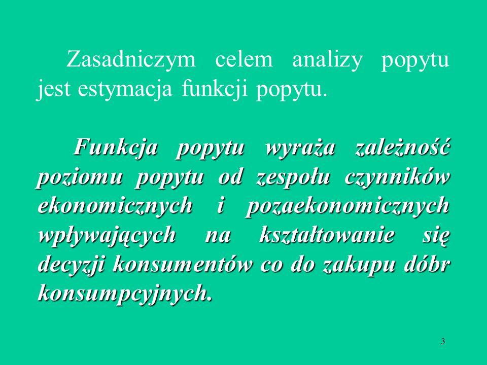 3 Zasadniczym celem analizy popytu jest estymacja funkcji popytu.