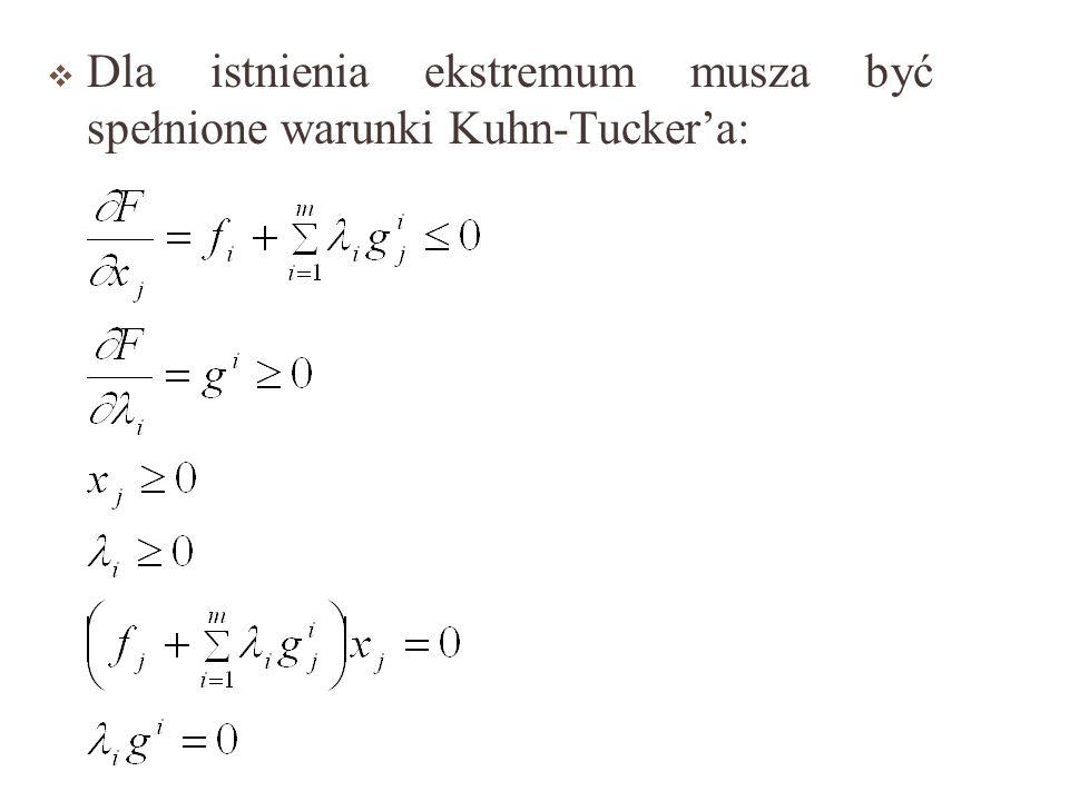 Przy wprowadzaniu m-ograniczeń nieliniowych, problem optymalizacji funkcji n-zmiennych przyjmie postać: a funkcja Lagrangea jest postaci: