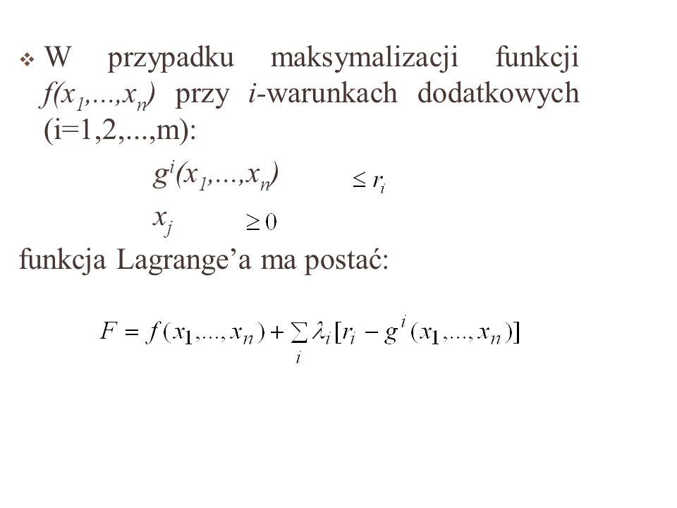 Dla wypukłych f(x 1,...,x n ) i g i (x 1,...,x n ) gdzie i=1,2,...,m warunki Kuhn-Tucker'a są wystarczające dla istnienia maksimum globalnego. Przy mi