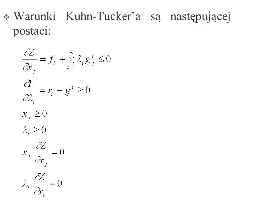 W przypadku maksymalizacji funkcji f(x 1,...,x n ) przy i-warunkach dodatkowych (i=1,2,...,m): g i (x 1,...,x n ) x j funkcja Lagrangea ma postać: