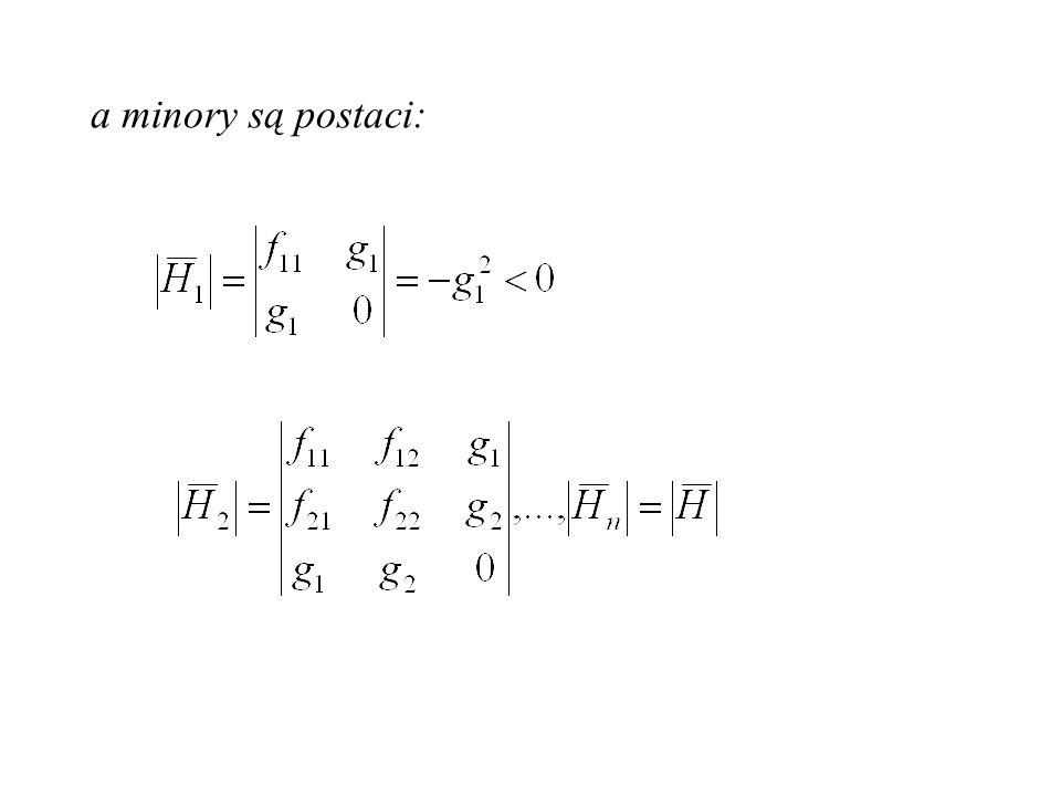 warunkiem koniecznym istnienia ekstremum funkcji jest by pierwsze pochodne spełniały warunek: tworzony jest Hessian: