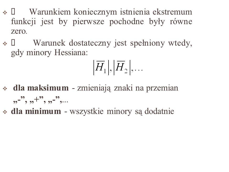 Warunkiem koniecznym istnienia ekstremum funkcji jest by pierwsze pochodne były równe zero.