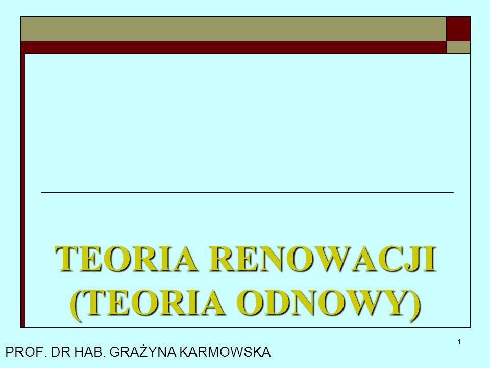 1 PROF. DR HAB. GRAŻYNA KARMOWSKA TEORIA RENOWACJI (TEORIA ODNOWY)
