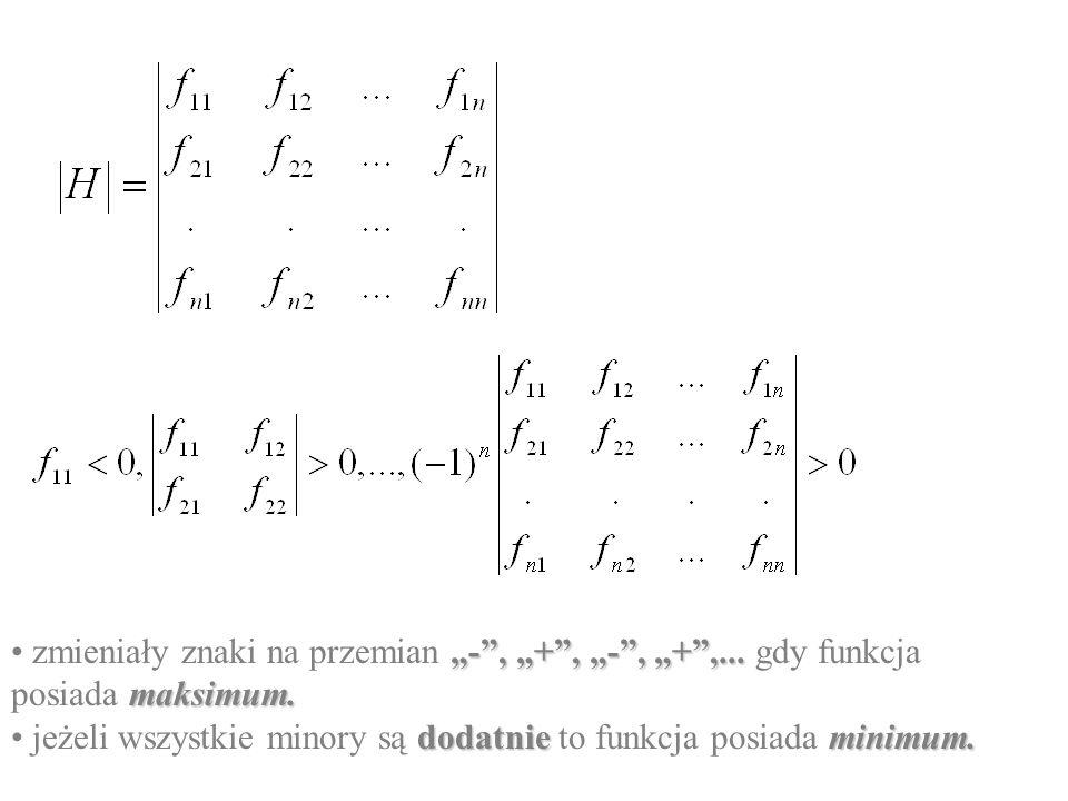 warunek konieczny - pierwsze pochodne cząstkowe muszą być równe zero: warunkiem dostatecznym jest by minory główne utworzone z wyznacznika Hessego, z