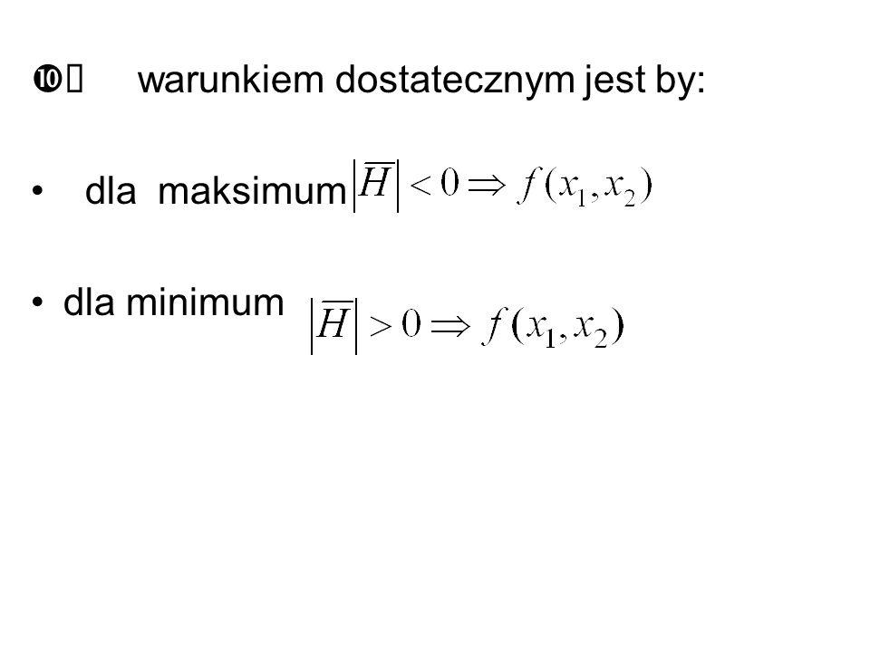 zmieniały znaki na przemian -, +, -, +,... +,... gdy funkcja posiada maksimum. jeżeli wszystkie minory są dodatnie dodatnie to funkcja posiada minimum