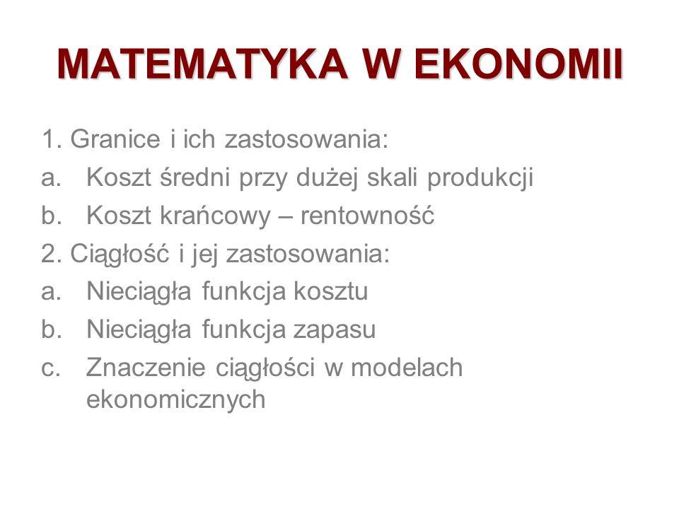 5. Ostoja-Ostaszewski A., Matematyka w ekonomii. PWE Warszawa 1996 6. Panek E., Ekonomia matematyczna. PWE 2000 7. Panek E., Elementy ekonomii matemat