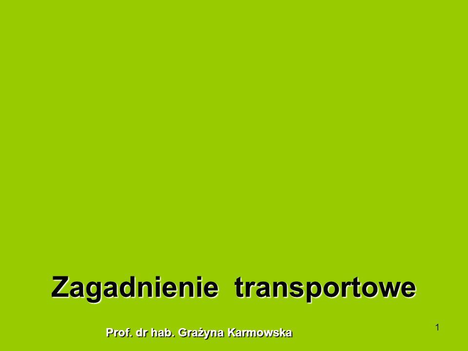 1 Zagadnienie transportowe Prof. dr hab. Grażyna Karmowska