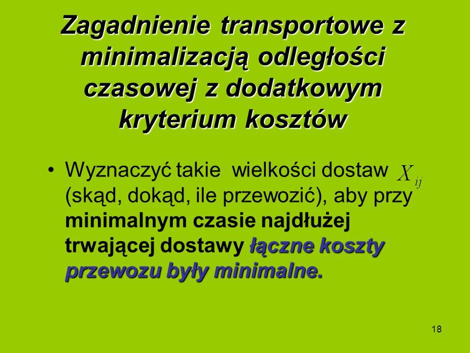 18 Zagadnienie transportowe z minimalizacją odległości czasowej z dodatkowym kryterium kosztów łączne koszty przewozu były minimalne.Wyznaczyć takie w