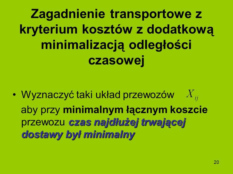 20 Wyznaczyć taki układ przewozów czas najdłużej trwającej dostawy był minimalny aby przy minimalnym łącznym koszcie przewozu czas najdłużej trwającej