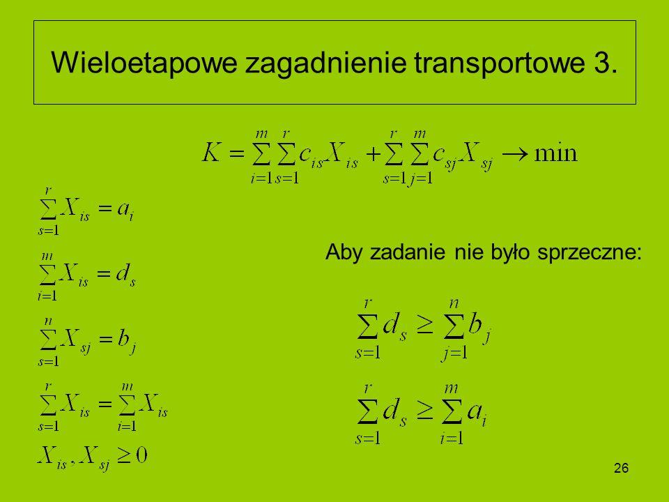 26 Wieloetapowe zagadnienie transportowe 3. Aby zadanie nie było sprzeczne: