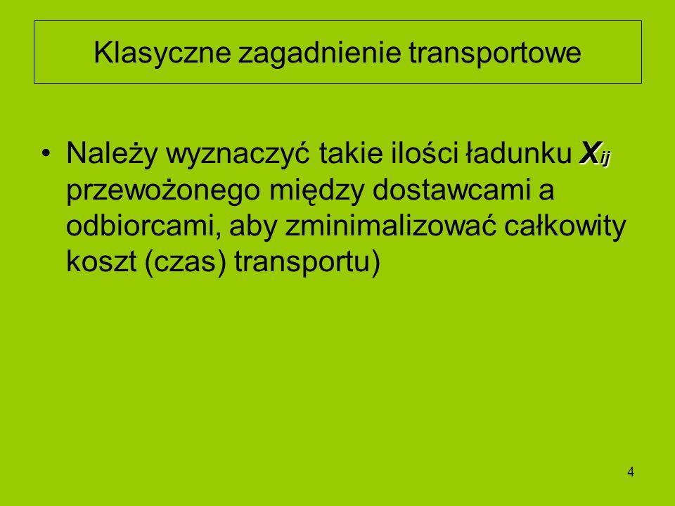 4 X ijNależy wyznaczyć takie ilości ładunku X ij przewożonego między dostawcami a odbiorcami, aby zminimalizować całkowity koszt (czas) transportu) Kl