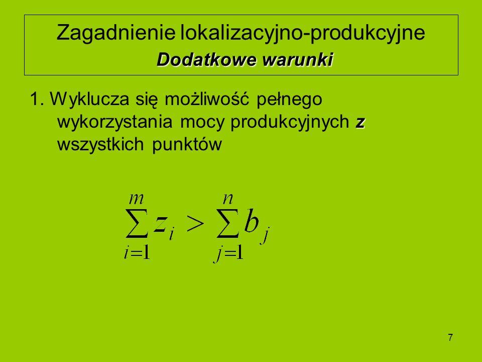 7 Dodatkowe warunki Zagadnienie lokalizacyjno-produkcyjne Dodatkowe warunki z 1. Wyklucza się możliwość pełnego wykorzystania mocy produkcyjnych z wsz