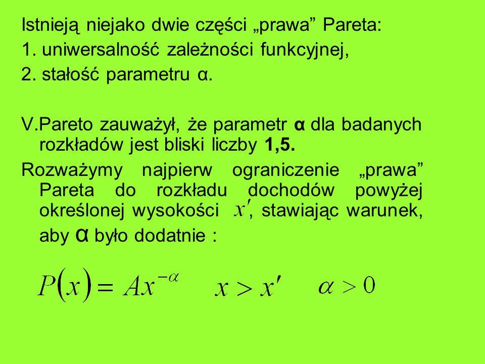Istnieją niejako dwie części prawa Pareta: 1. uniwersalność zależności funkcyjnej, 2. stałość parametru α. V.Pareto zauważył, że parametr α dla badany