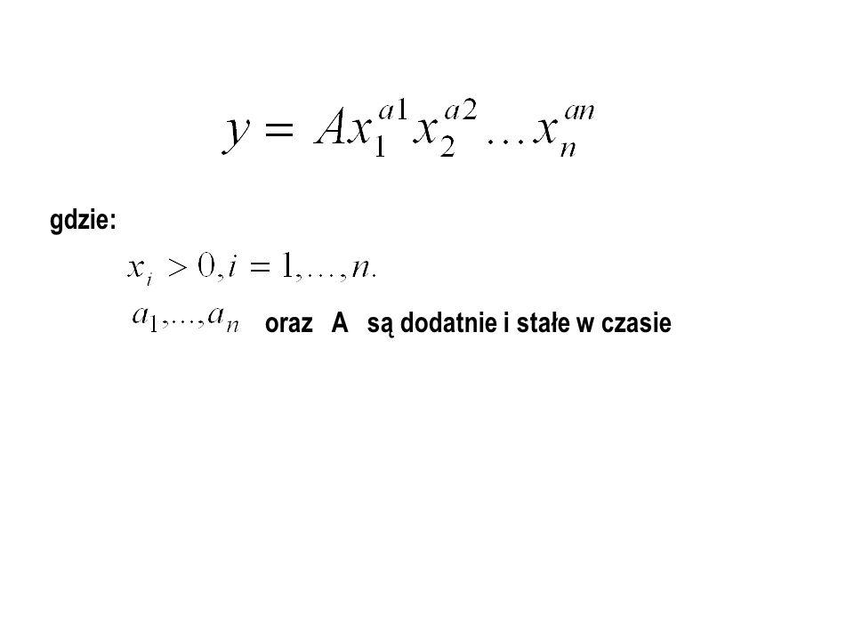Klasyczna funkcja Cobb-Douglasa: gdzie: A - stan postępu naukowo - technicznego, - zasoby majątku produkcyjnego, - nakłady pracy żywej. Podstawowe zał