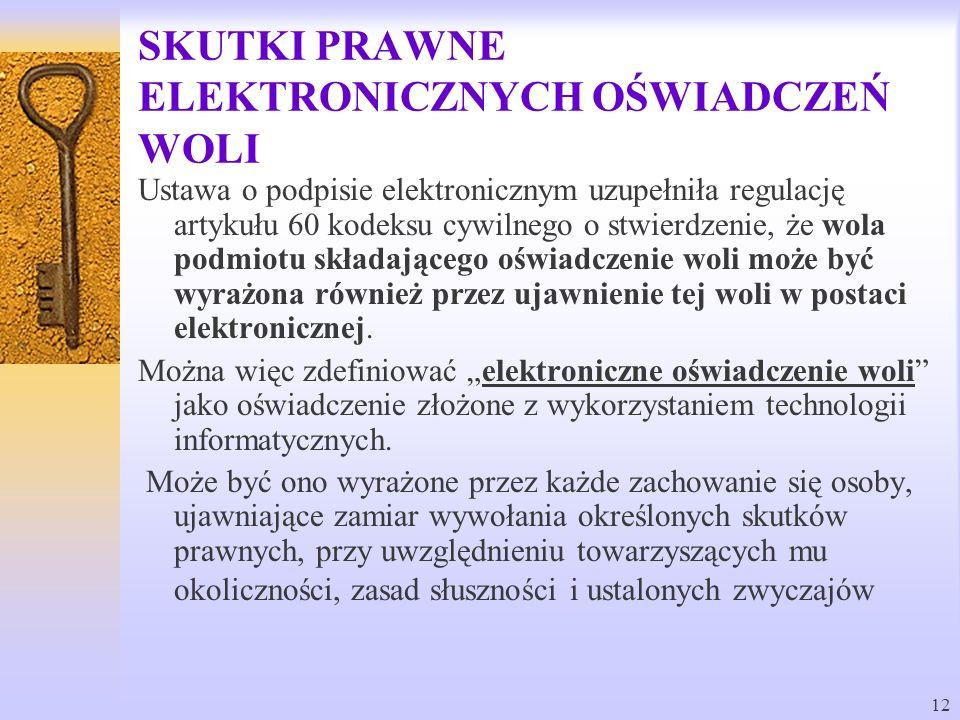 12 SKUTKI PRAWNE ELEKTRONICZNYCH OŚWIADCZEŃ WOLI Ustawa o podpisie elektronicznym uzupełniła regulację artykułu 60 kodeksu cywilnego o stwierdzenie, ż