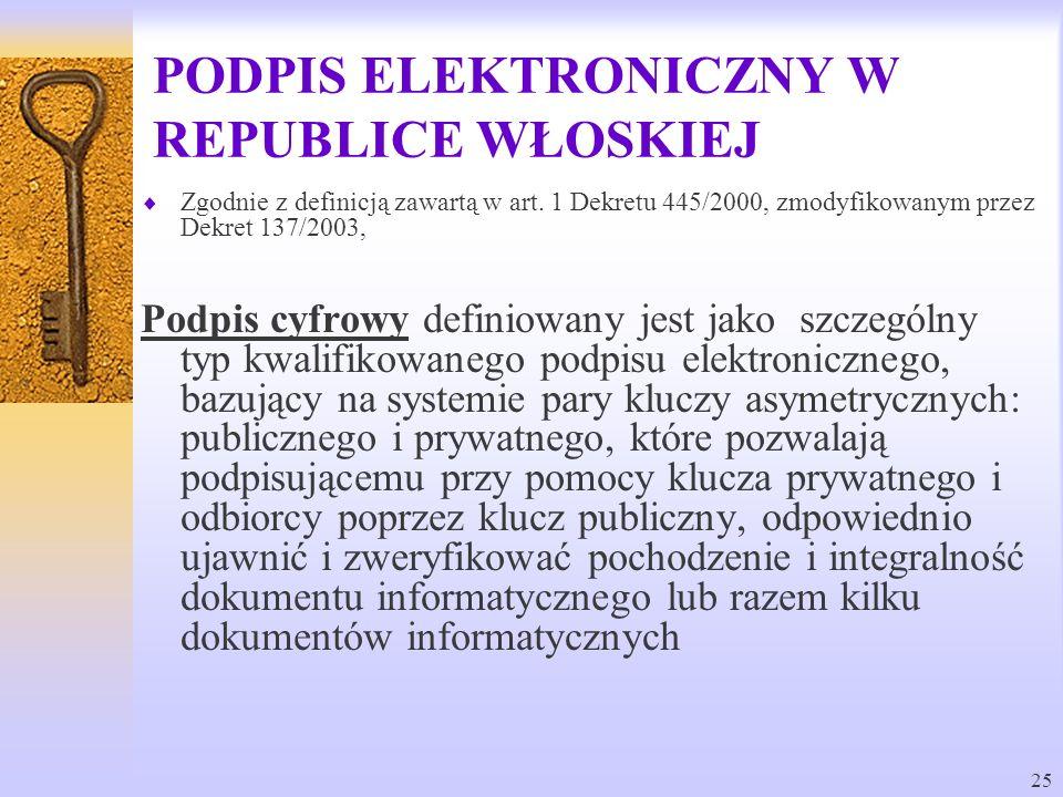 25 PODPIS ELEKTRONICZNY W REPUBLICE WŁOSKIEJ Zgodnie z definicją zawartą w art. 1 Dekretu 445/2000, zmodyfikowanym przez Dekret 137/2003, Podpis cyfro