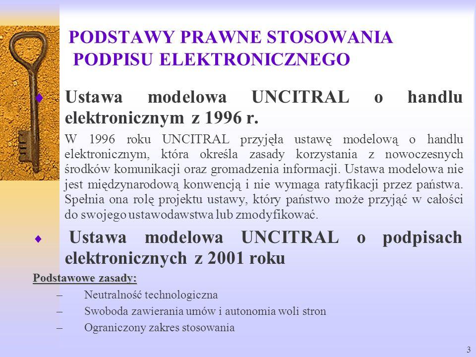 3 Ustawa modelowa UNCITRAL o handlu elektronicznym z 1996 r. W 1996 roku UNCITRAL przyjęła ustawę modelową o handlu elektronicznym, która określa zasa
