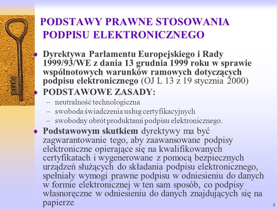 4 PODSTAWY PRAWNE STOSOWANIA PODPISU ELEKTRONICZNEGO Dyrektywa Parlamentu Europejskiego i Rady 1999/93/WE z dania 13 grudnia 1999 roku w sprawie wspól
