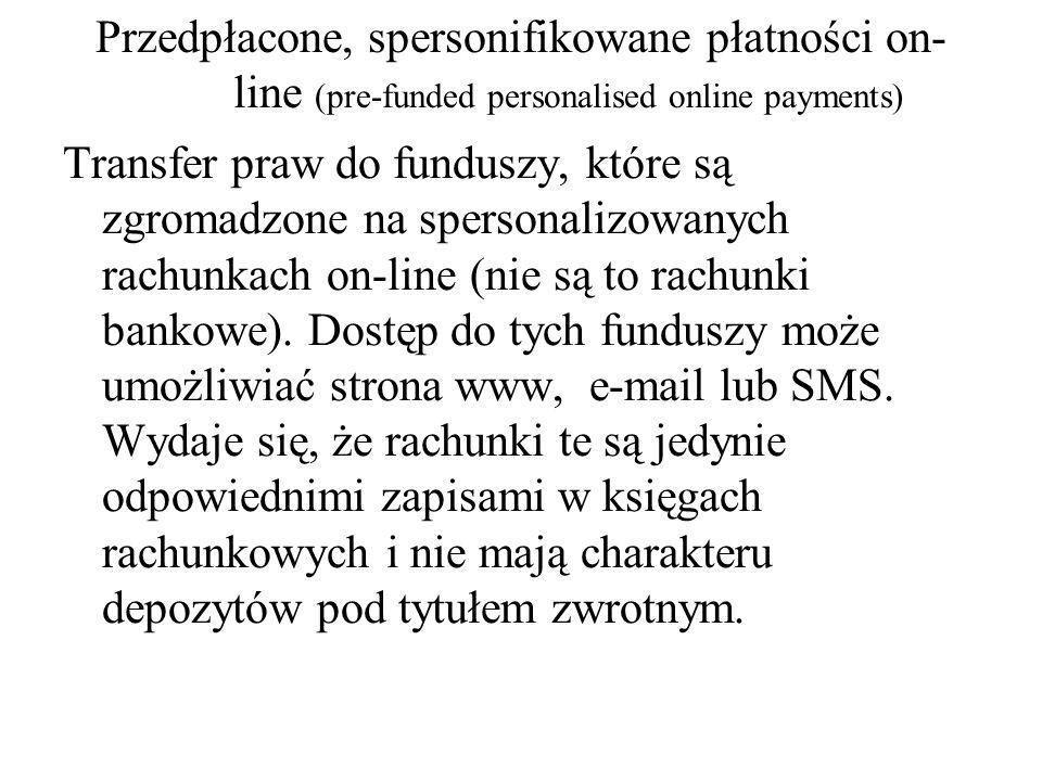 Przedpłacone, spersonifikowane płatności on- line (pre-funded personalised online payments) Transfer praw do funduszy, które są zgromadzone na sperson