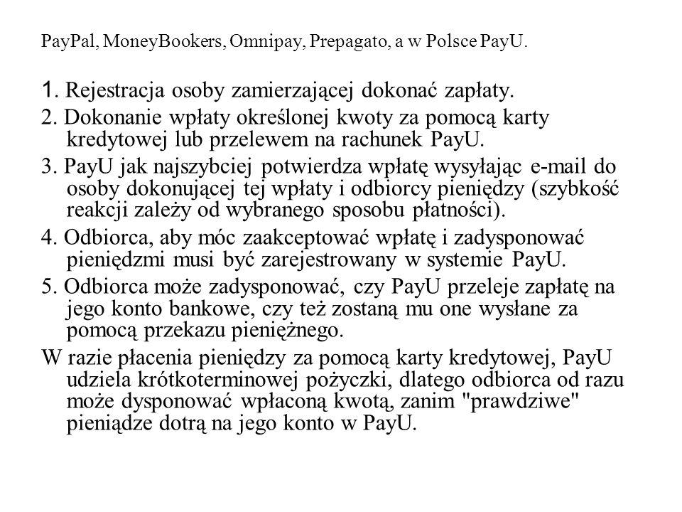 PayPal, MoneyBookers, Omnipay, Prepagato, a w Polsce PayU. 1. Rejestracja osoby zamierzającej dokonać zapłaty. 2. Dokonanie wpłaty określonej kwoty za
