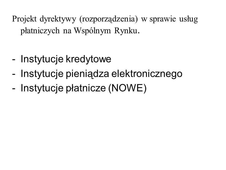Projekt dyrektywy (rozporządzenia) w sprawie usług płatniczych na Wspólnym Rynku. -Instytucje kredytowe -Instytucje pieniądza elektronicznego -Instytu