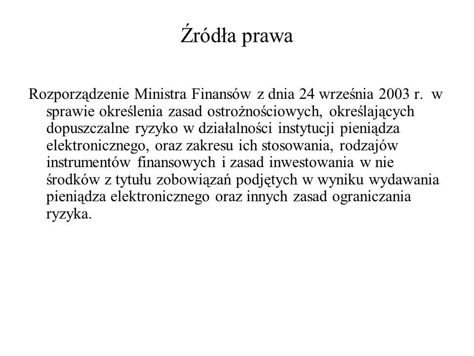 Źródła prawa Rozporządzenie Ministra Finansów z dnia 24 września 2003 r. w sprawie określenia zasad ostrożnościowych, określających dopuszczalne ryzyk
