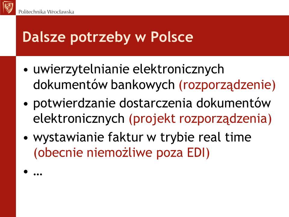 Dalsze potrzeby w Polsce uwierzytelnianie elektronicznych dokumentów bankowych (rozporządzenie) potwierdzanie dostarczenia dokumentów elektronicznych