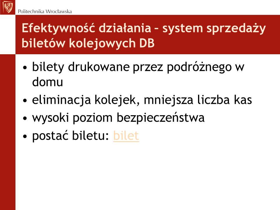 Efektywność działania – system sprzedaży biletów kolejowych DB bilety drukowane przez podróżnego w domu eliminacja kolejek, mniejsza liczba kas wysoki