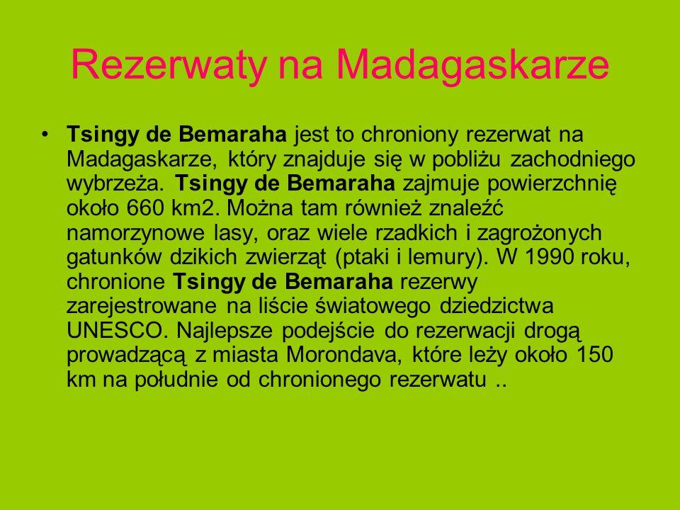 Rezerwaty na Madagaskarze Tsingy de Bemaraha jest to chroniony rezerwat na Madagaskarze, który znajduje się w pobliżu zachodniego wybrzeża. Tsingy de