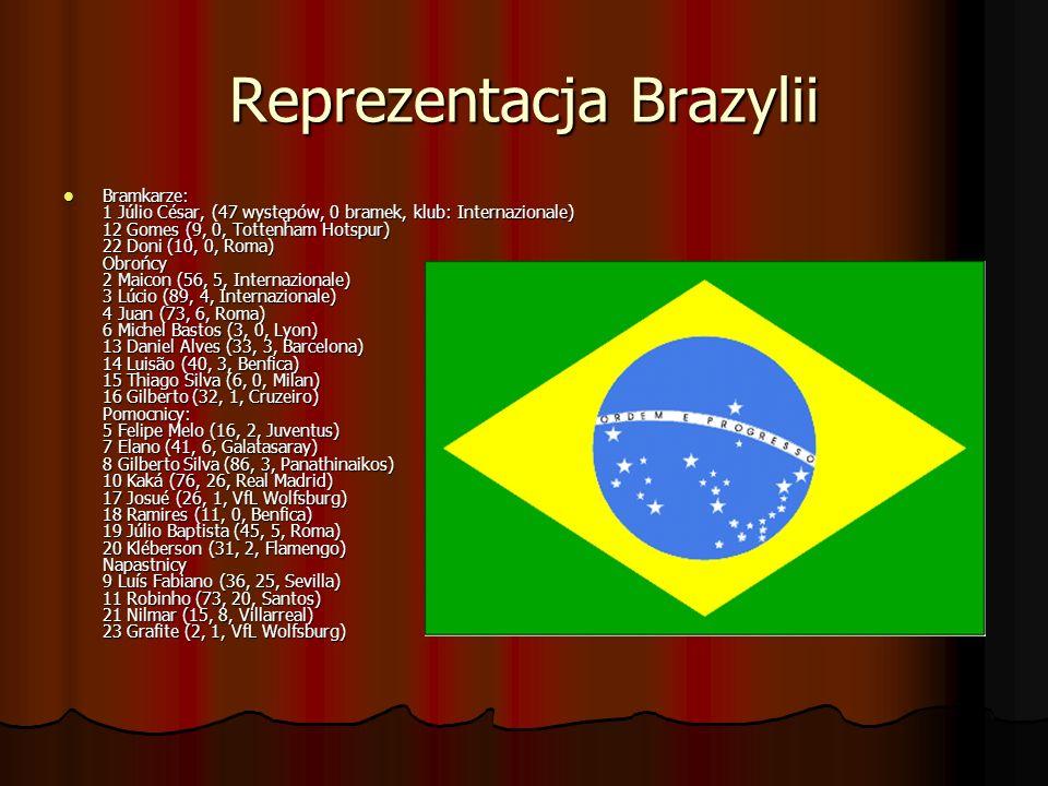 Reprezentacja Brazylii Bramkarze: 1 Júlio César, (47 występów, 0 bramek, klub: Internazionale) 12 Gomes (9, 0, Tottenham Hotspur) 22 Doni (10, 0, Roma
