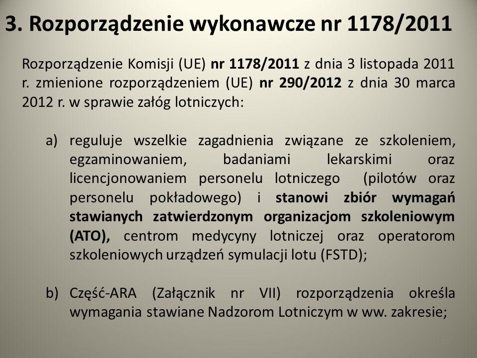 10 3. Rozporządzenie wykonawcze nr 1178/2011 Rozporządzenie Komisji (UE) nr 1178/2011 z dnia 3 listopada 2011 r. zmienione rozporządzeniem (UE) nr 290