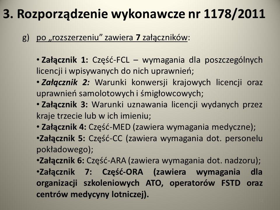 12 3. Rozporządzenie wykonawcze nr 1178/2011 g)po rozszerzeniu zawiera 7 załączników: Załącznik 1: Część-FCL – wymagania dla poszczególnych licencji i