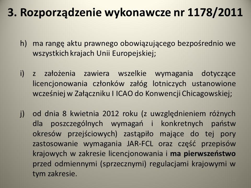 13 3. Rozporządzenie wykonawcze nr 1178/2011 h)ma rangę aktu prawnego obowiązującego bezpośrednio we wszystkich krajach Unii Europejskiej; i)z założen
