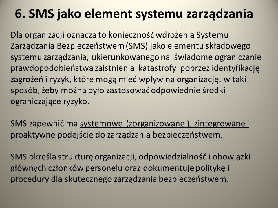 17 6. SMS jako element systemu zarządzania Dla organizacji oznacza to konieczność wdrożenia Systemu Zarządzania Bezpieczeństwem (SMS) jako elementu sk