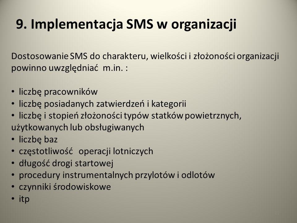 21 9. Implementacja SMS w organizacji Dostosowanie SMS do charakteru, wielkości i złożoności organizacji powinno uwzględniać m.in. : liczbę pracownikó
